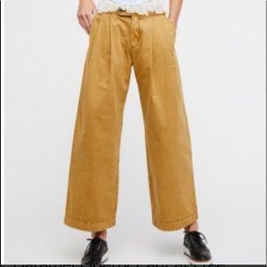 Free People Liberty Caramel Wide Leg Trousers